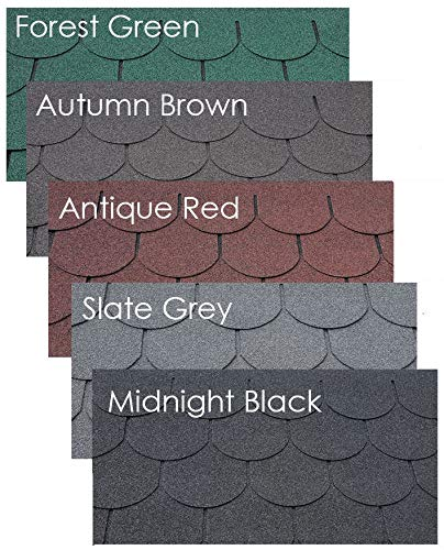 Felt Shingles Midnight Black Fishscale 5 Tab Shed Roofing Tiles