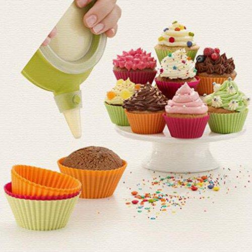 Lot de 10 moules à muffins en silicone Moules à muffins 7 cm rond Moules à muffins Mini caissettes pour pudding Jelly Egg Moule à Tarte Moule à gâteau Tasse