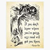 Alice In Wonderland Quote - Any Road - Cheshire Cat Quote - 0106 Sticker Decal Vinyl Bumper Sticker Decal Waterproof 5'