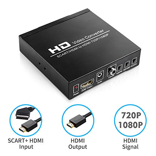 CiBest SCART + HDMI to HDMI Converter Adapter, Support 480I(NTSC)/576I(PAL) to 720P/1080P HDMI Signal for TV, DVD, Set-top Box, HD Player, Game Console (PS2 PS3 PSP,WII,XBOX360)