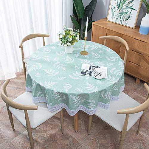 DJUX Gartentischdecke wasserdichte Anti-Verbrühung, ölfest, Einweg-Tischdecke aus PVC-Kunststoff, rechteckig, 120 x 152 cm, 152 cm, rund, lichtgrün, 152 cm