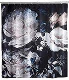 WENKO Anti-Schimmel Duschvorhang Peony - Anti-Bakteriell, Textil, waschbar, wasserabweisend, schimmelresistent, mit 12 Duschvorhangringen, Polyester, 180 x 200 cm, Mehrfarbig