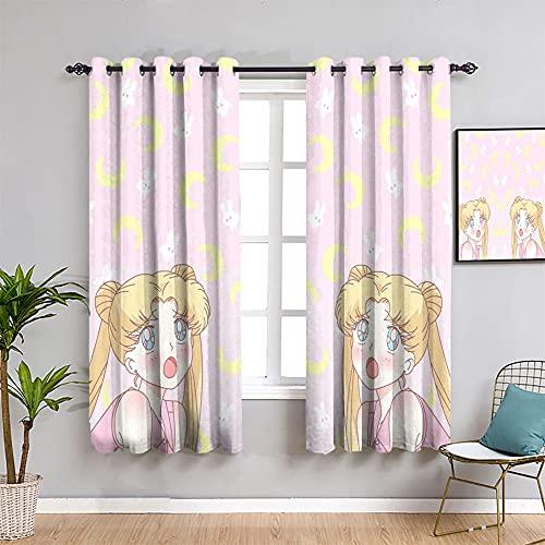 Trelemek Sailor Moon - Cortinas de dormitorio con ojales para ventana, cortinas japonesas con cancelación de ruido, 42 x 72 cm