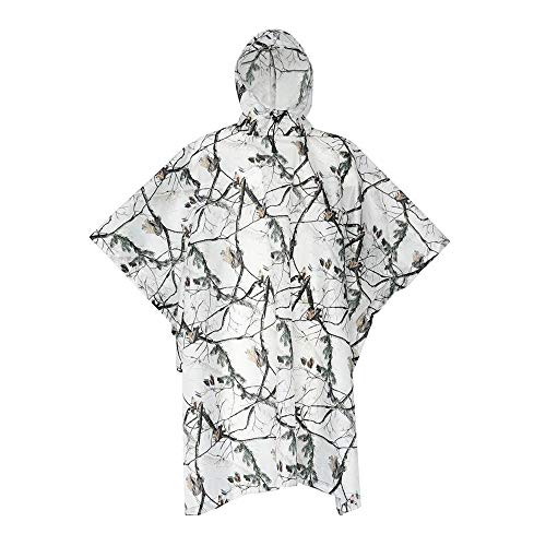 Huenco Chubasquero 3 en 1, diseño de camuflaje y nieve, impermeable, poncho con capucha para lluvia / sombrilla / esterilla de picnic para senderismo, esquí y escalada