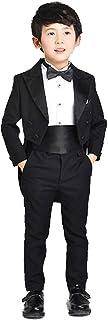 ニューヤ (Newya) 男の子 豪華 フォーマル 子供スーツ ギッズ服 卒園式 フラワーボーイズ 燕尾服 卒業式 入学式 演奏会 ピアノ出演服 スーツ 紳士服 洋服 五セート コート+ズボン+シャツ+ネクタイ+ベルト