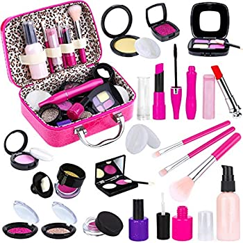 Tepsmigo Pretend Makeup Kit for Girls Kids Pretend Play Makeup Set - with Cosmetic Bag for Birthday Christmas Toy Makeup Set for Toddler Little Girls Age 3+ Not Real Makeup