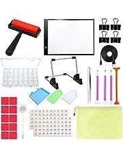 Novsix Kits de herramientas de pintura de diamantes: caja de luz LED A4, soporte de aleación de aluminio y herramientas de 24 piezas para taladro completo y pintura de diamante 5D