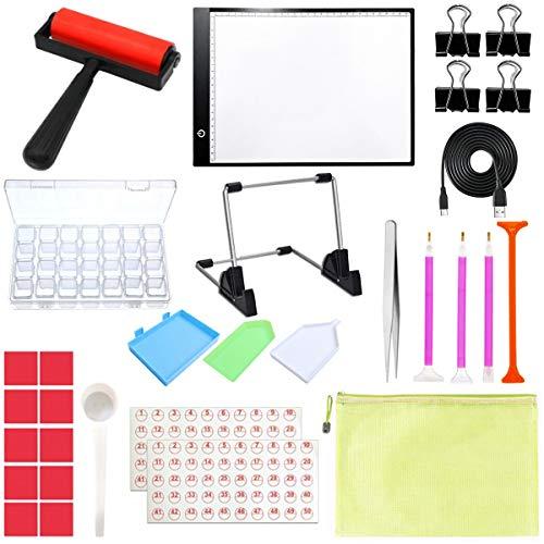 Novsix Kits de herramientas de pintura de diamantes: caja de luz LED...