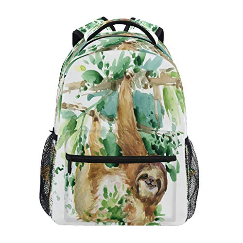 HaJie Backpack Watercolor Leaves Sloth Animal Travel Daypack Large Capacity Rucksack Casual School Book Bag Shoulder Straps Computer Laptop Bag for Womens Mens Teenage Girls Boys
