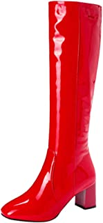 〓COOlCCI〓Knee-High Boots for Women Wide Calf, Pointed Toe Heel Zipper Boot Cowgirl Combat Booties Riding Boots Work Shoes