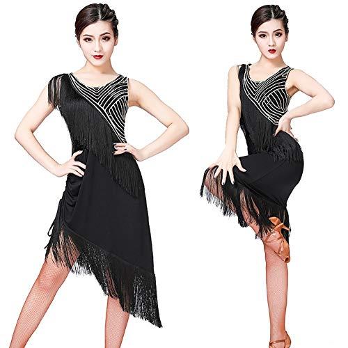 Vestito da Ballo Latino con Paillettes a Frange con Paillettes, Vestito da Ginnastica per Donna Senza Maniche per Vestito da Ballo Latino Salsa Cha Cha Tango Rumba Ballroom