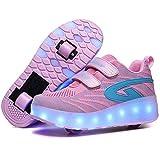 WANGT Lumineuse Chaussures de Skateboard,Inline Skates Baskets,LED USB Rechargeable Rétractables Roue Chaussures de Sport Sports de Plein Air Gymnastique,Rose,29