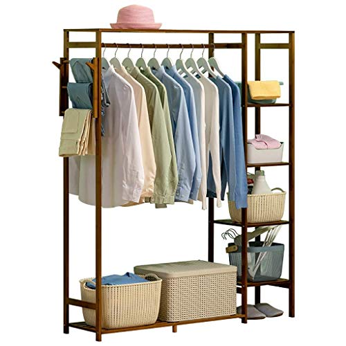 FKDEYICOAT Bamboo Pant Clothing Rack Stand with Clothing Rod Pant Rack,4 Tier Garment Storage Shelf for Bedroom,Living Roo. (Size : 90 * 30 * 145cm)