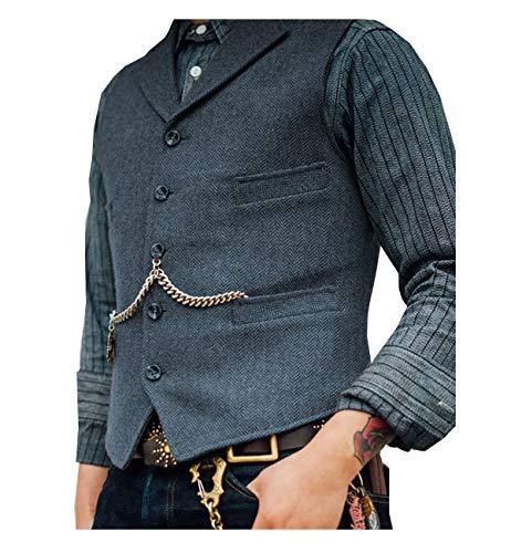 Lovee Tux Herringbone Weste Formale Business Notch Revers Männer Anzug Weste Wolle/Tweed Weste für Hochzeit(L,Marine-02)