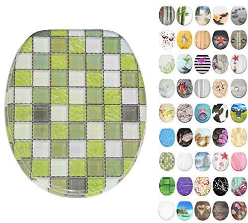 WC Sitz mit Absenkautomatik, große Auswahl, schöne Motive, hochwertige und stabile Qualität aus Holz (Mosaik Grün)