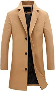 RONSHIN Fashion Winter Men's Solid Color Trench Coat Warm Long Jacket Single Breasted Overcoat