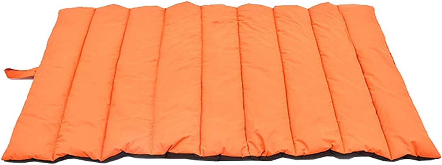 Outdoor Pet Bed Mat Four Seasons Available Kennel Cat Mat Washable Fold Oxford Cloth Pet Pad for Medium and Large Pets (color   orange, Size   L110W68CM)