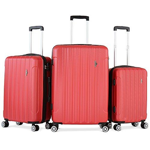 Vojagor Set valigie trolley guscio rigido set da 3 trolley S/M/L colore a scelta (ROSSO)