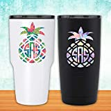 Patterned Pineapple with Circle Initials Monogram Decal - for Yeti Tumblers Laptops MacBooks Cars Planners Etc
