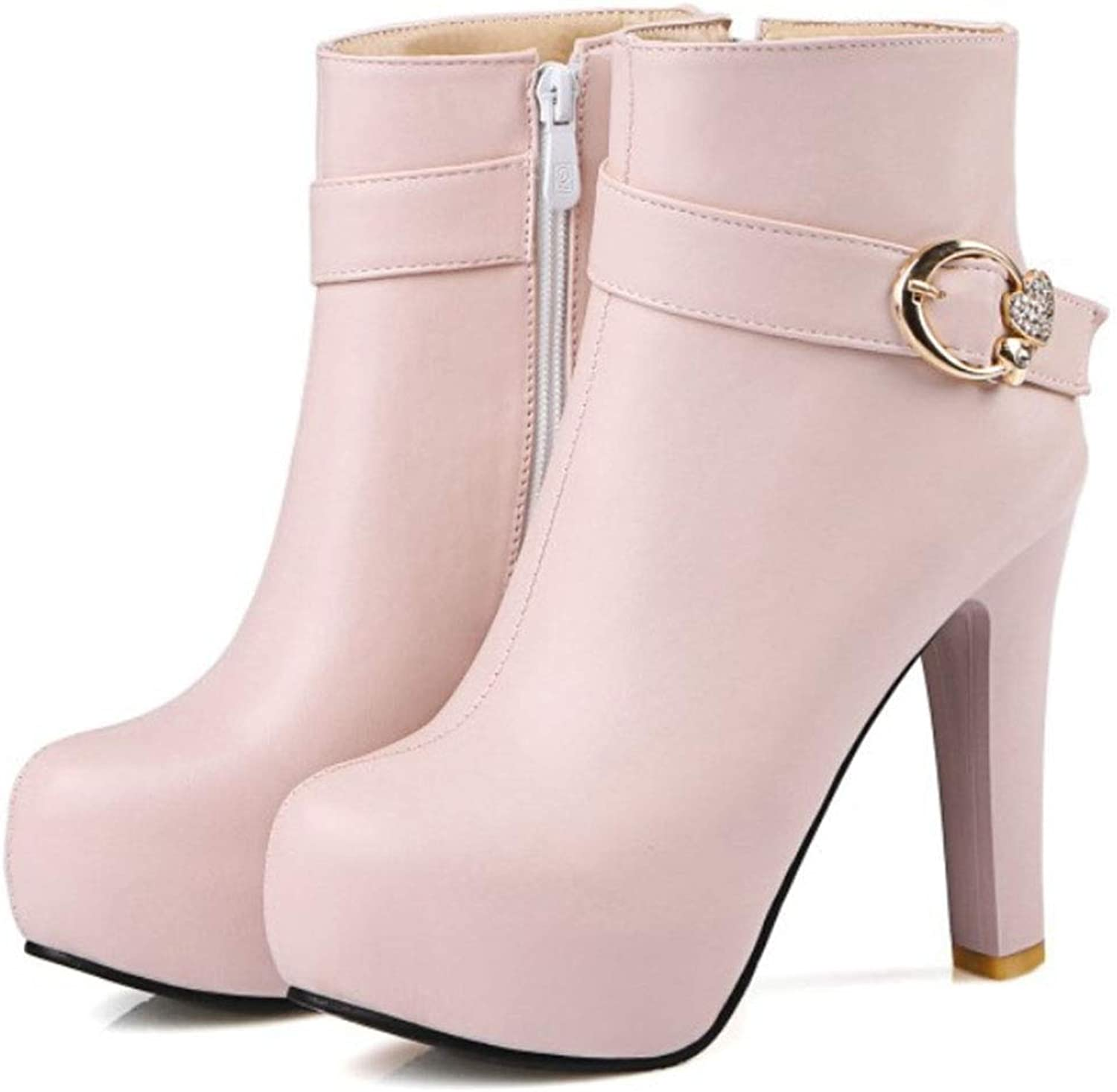 Women's Ankle Boots Leather Crude Heel high Heel Round Head Martin Boots Side Zipper Belt Buckle Super high Heel Waterproof Platform Fashion Boots Autumn and Winter