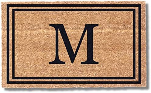 Coco Mats N More Black Double Bordered Monogrammed Coco Doormat 22 x 36 with Vinyl Backing Durable product image