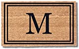 Coco Mats 'N More Black Double Bordered Monogrammed Coco Doormat 22' x 36' with Vinyl Backing | Durable Personalized Doormat | Outdoor Door Mat for Home Entrance | Keeps Homes Clean