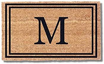Coco Mats  N More Black Double Bordered Monogrammed Coco Doormat 22  x 36  with Vinyl Backing   Durable Personalized Doormat   Outdoor Door Mat for Home Entrance   Keeps Homes Clean