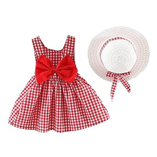 ROSEBEAR Vestido de verano para bebé y niña, con lazo, con sombrero de paja, 2 unidades