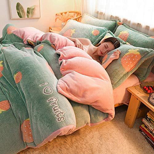 juegos de sábanas de 90 de oferta-Felpa engrosada copo de nieve funda nórdica de terciopelo hoja de franela kit de ropa de cama de invierno de tres piezas regalo-mi_Cama de 1,2 m (3 piezas)