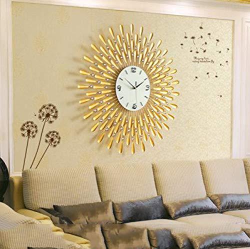 XSSD002 Woonkamer grote klok Europese klok kwarts klok mode creatieve klok moderne minimalistische slaapkamer tuintafel, 20 inch, goud 70 cm, geel, A