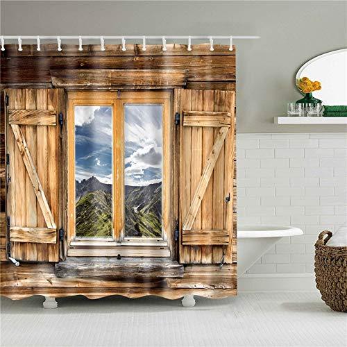 XCBN Mandala Geometric Moon Wooden House Shower Curtains Bathroom Set Waterproof Bath Curtain with Hooks A9 90x180cm