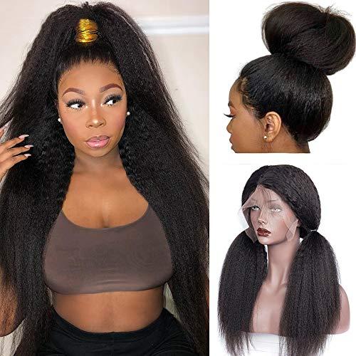 HC Hair Kinky Straight 360 Lace Frontal Wig Pre Plucked Italian Yaki Human Hair Wigs Brazilian 150% Density Remy Lace Front Human Hair Wigs for Women (18inch, 360 KS)