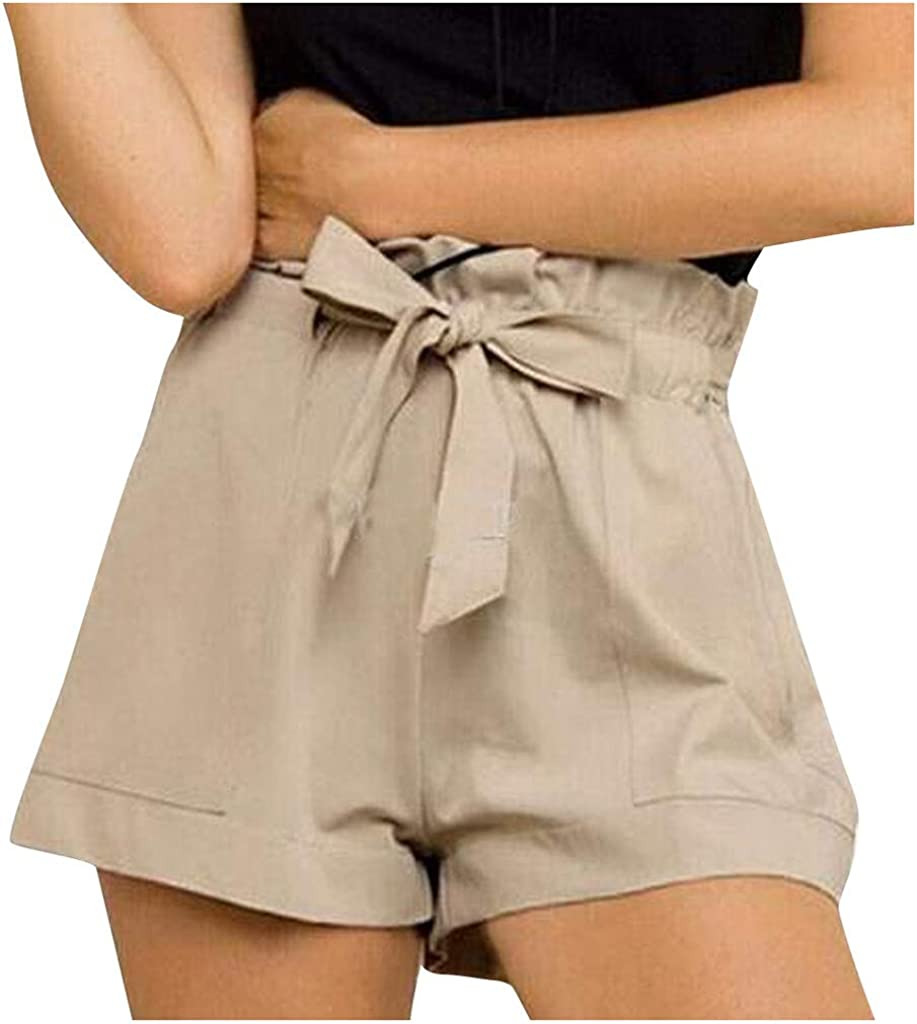 UBST Paper Bag Shorts for Women High Waisted Casual Shorts Self Tie Elastic Waist Loose Rolled Short Pants with Pockets