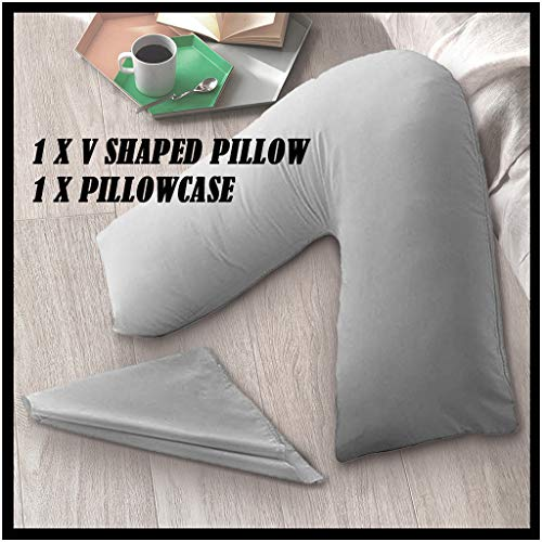 Flurries Pain Relieving V-Shaped Sleeping Bed Pillow with Pillow-case - Pregnency Nursing Brestfeeding Pillow for Pregnant Women's Neck Back Waist Support - Side Sleeping Body Contoured Pillow (Gray)