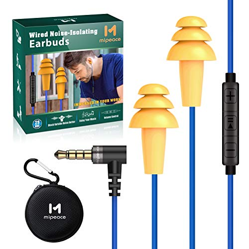 Work Earbuds Headphones, Mipeace Safety Industrial Ear Plugs Headphones with mic and Volume Control-OSHA Approved Noise Reduction Earphones for Work Construction