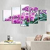 YliJkeT 5 lienzos artísticos Moderno Cuadro Flor de la orquídea de Las Naciones Unidas impresión de Imagen para dormitorios Modernos