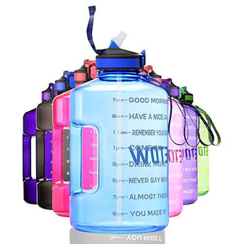 ETDW 3,78L Trinkflaschen mit Starkem Griff BPA Frei, Wiederverwendbare Wasserkanister mit Zeitangaben Tragbarer Camping Wassertank für Outdoor Reise Kampierendes Nach Hellblau
