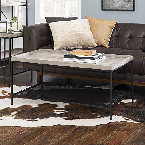 Walker Edison Furniture Company Industrial Coffee Accent Table Living Room Rectangle, Grey Wash