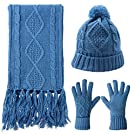 Scarf Hat Gloves Set Women Warm Knit Winter Gift Pom Beanie Touch Screen 3 Pcs