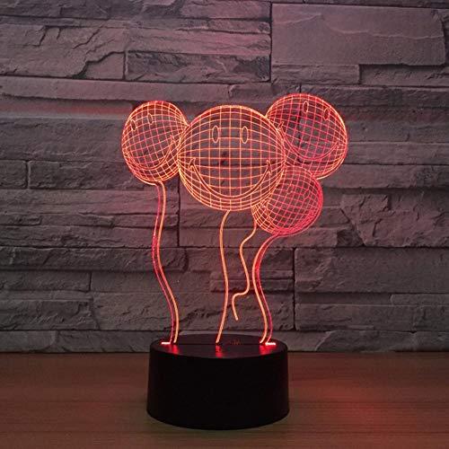 Dwqerwre 3D Veilleuse Nuit Visage Souriant Ballon 3D Night Light Touch Switch 7 Changement De Couleur Bébé Dormir Lumière Fête De Mariage Atmosphère Lampe Drop Shipping