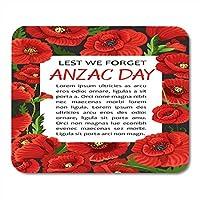 マウスパッドアンザックデー4月25日のケシの花の花輪を忘れないオーストラリアとニュージーランドの戦争記念マウスマットマウスパッドマウスパッドノートブックデスクトップコンピューターに適しています