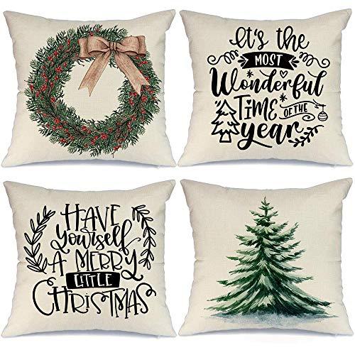 LONLYTISA - Juego de 4 fundas de almohada navideñas de 40 x 18 cm, diseño de corona de árbol de Navidad, decoración rústica para el hogar, decoración de Navidad, fundas de cojín para sofá A302-18