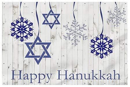CGSignLab | Alicia Ludwig'Holiday Decor Happy Hanukkah' Wind-Resistant Outdoor Mesh Vinyl Banner | 12'x8'