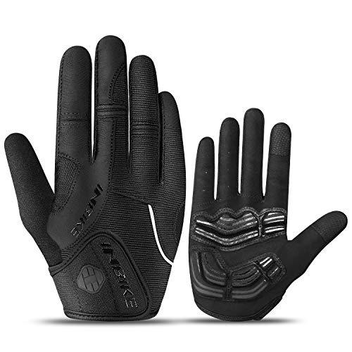 INBIKE Fahrradhandschuhe Herren Lang MTB Handschuhe mit gepolstert Gel Handschuhe Vollfinger Radhandschuhe Atmungsaktiv Elastische für Radfahren Outdoor-Aktivitäten Schwarz, XL