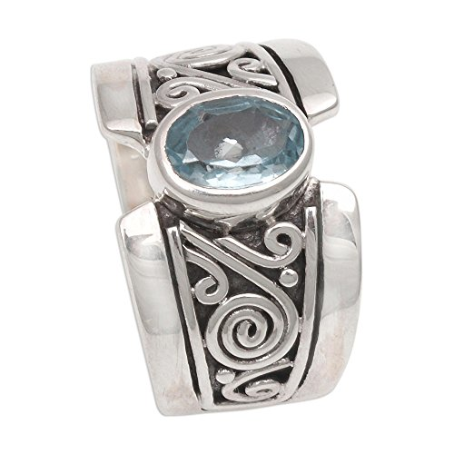 NOVICA Blue Topaz .925 Sterling Silver Artisan Crafted Band Ring, Karma