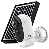 Outdoor Security Camera Wireless,WONGKUO Solar Powered Home Surveillance Camera,1080P Outdoor WiFi Security Camera,Night Vision, 2-Way Audio,PIR Motion Detection, IP65 Waterproof