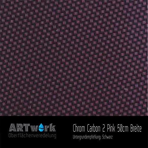 Wassertransferdruck Folie ARTwork Chrome Carbon 2 Pink 50m Breite WELTNEUHEIT !!!