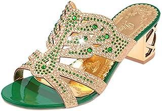 Women's sandals high heels glitter crystal sequins diamond open toe PU spring/summer green/royal blue/black/gold,Green,US5.5 / EU35.5