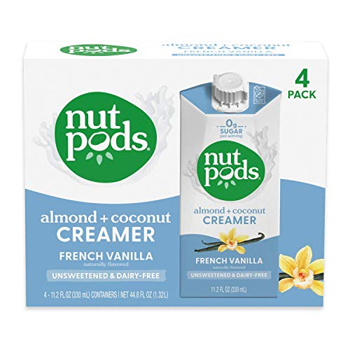 nutpods French Vanilla, (4-Pack), Unsweetened Dairy-Free Creamer, Made from Almonds and Coconuts, Whole30, Gluten Free, Non-GMO, Vegan, Kosher…