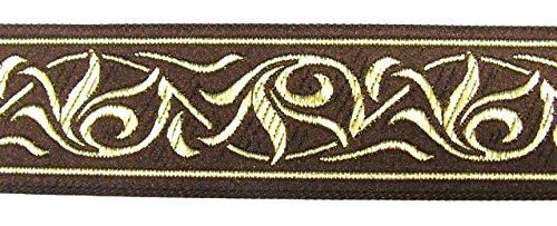 10m Renaissance Fleur Borte Webband 35mm breit Farbe: Braun-Gold von 1A-Kurzwaren 35001-brgo